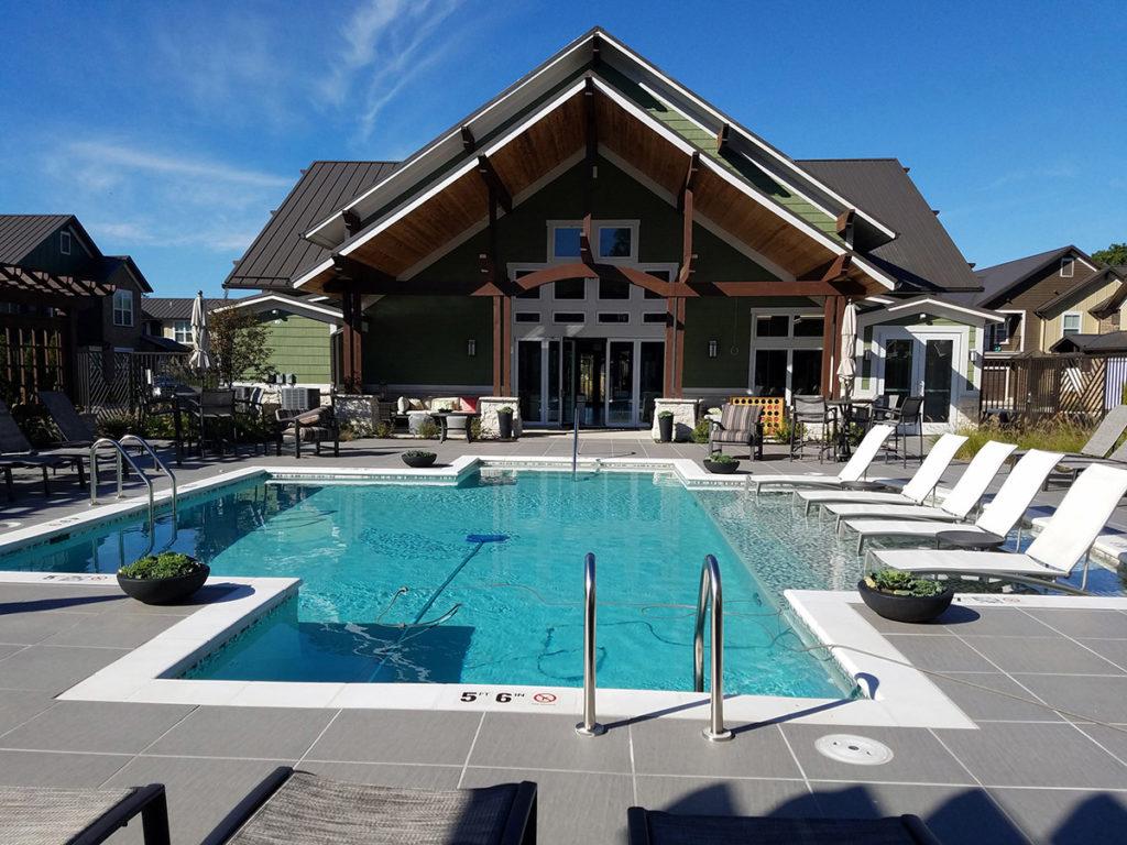 Pool area hardscape and landscape design
